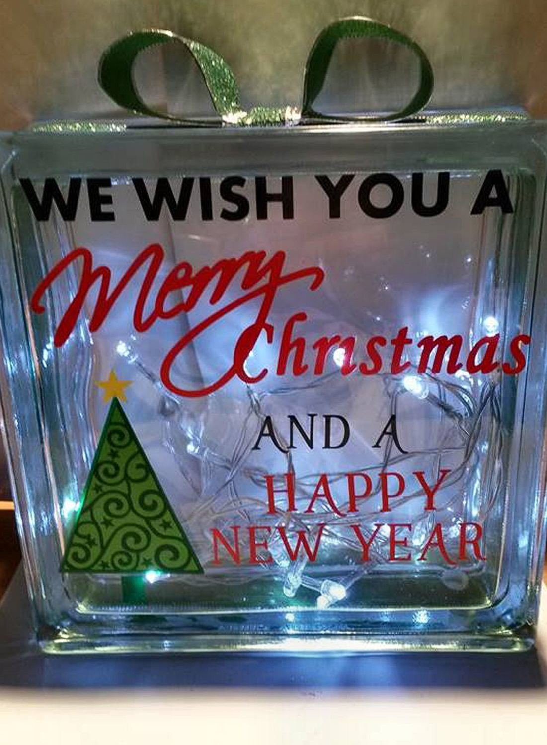 Wishing You A Merry Christmas Tree Glass Block Tile Design
