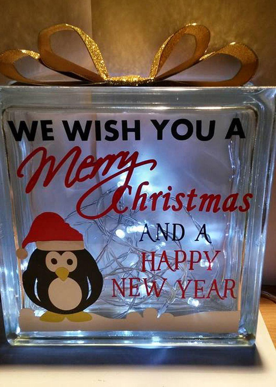 Wishing You A Merry Christmas Penguin Glass Block Tile Design