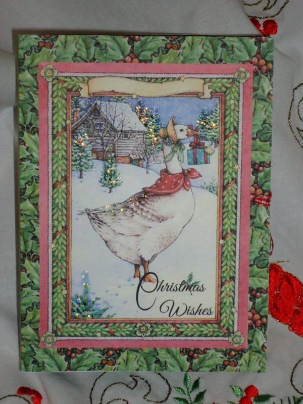 Holly and Christmas Goose  Combined Card-Box PNC
