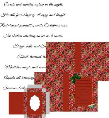 Christmas Poinsettia  Combined Card-Box PNC