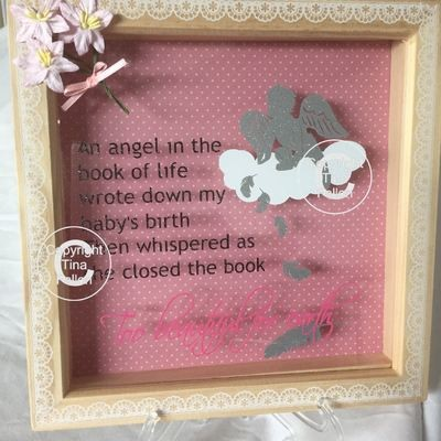 Too beautiful for Earth - baby memory, bereavement, angel wings, angel baby.