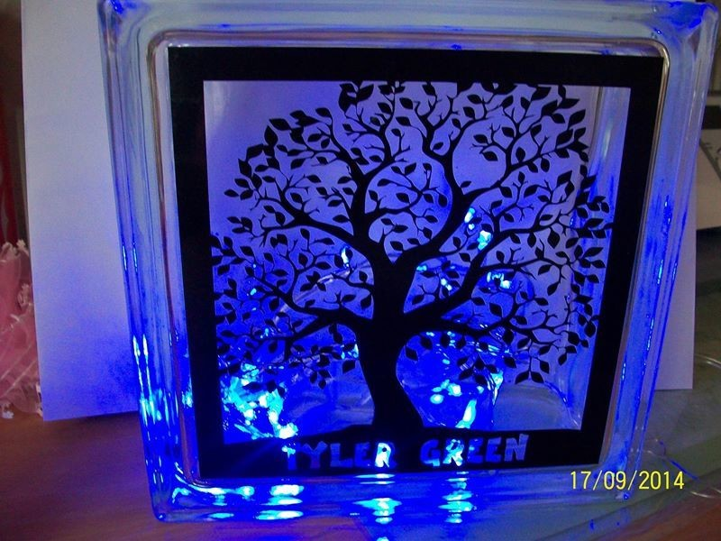 LEAFY TREE Glass Block Tile Design 6x6 inches   PLEASE READ ALL INFO