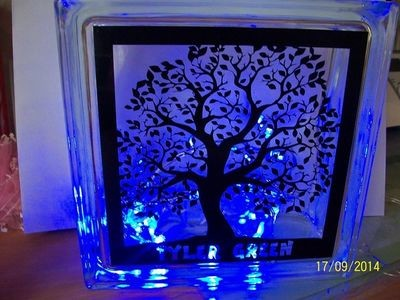 LEAFY TREE Glass Block Tile Design 6x6 inches   PLEASE READ ALL INFO