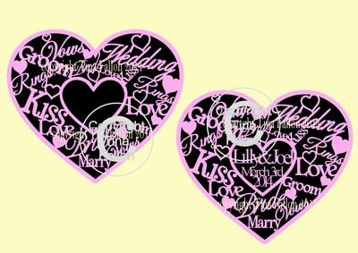 Wedding Heart ready for you to personalise in the centre