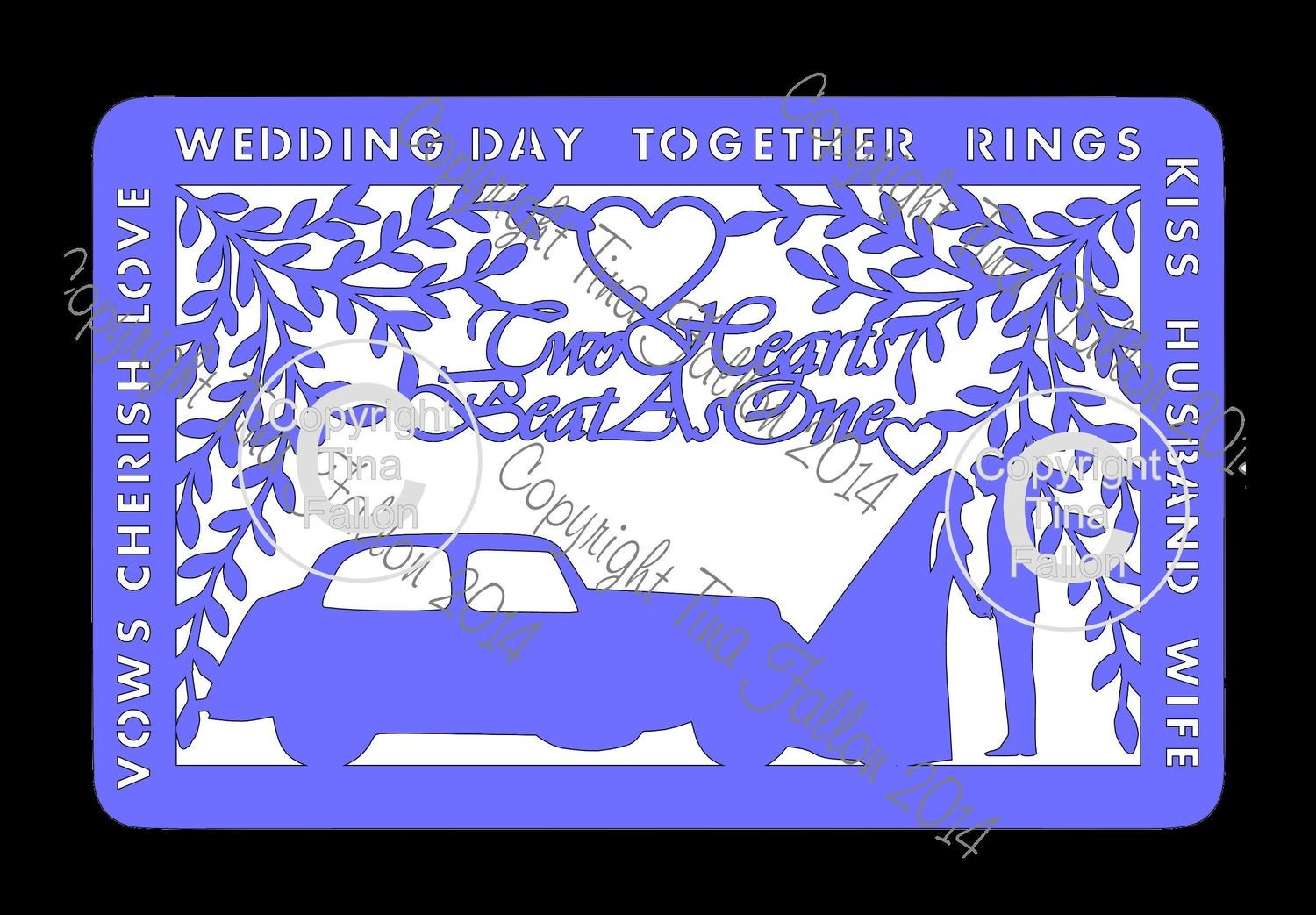 Wedding Day Frame No 2 with Car sized to approx A4