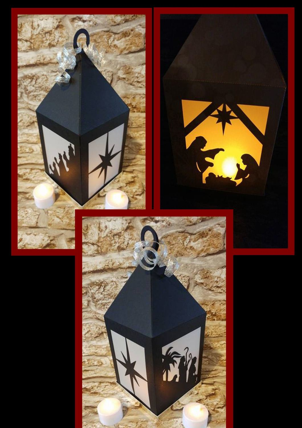 Stunning Christmas Nativity Lantern Luminaire, Lamp FCM Scan n cut format