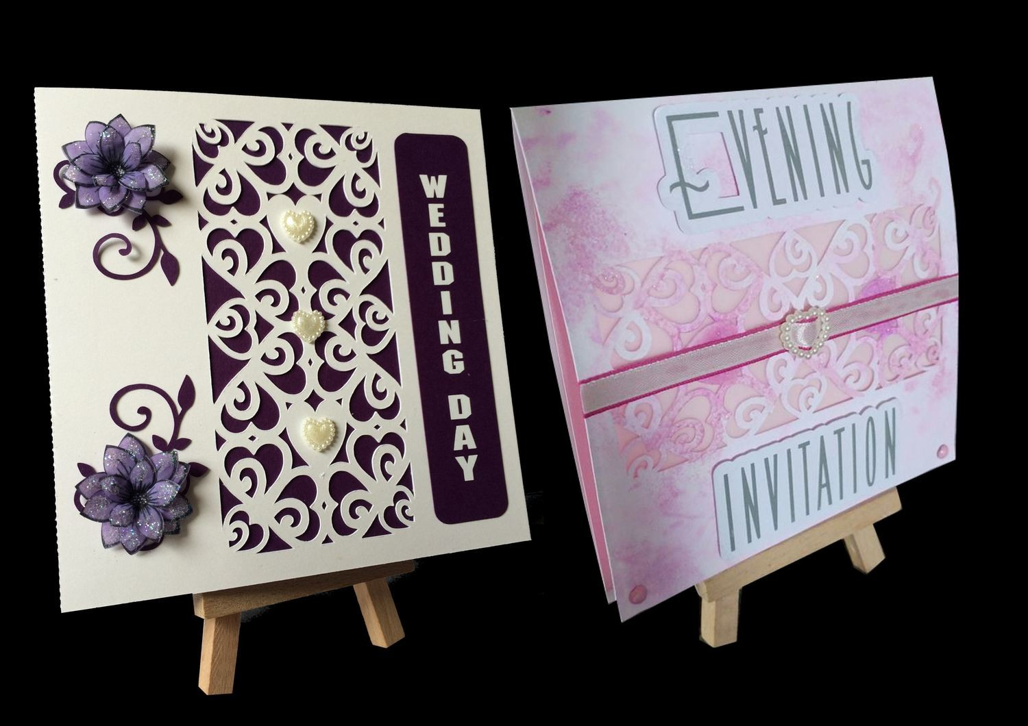 Hearts & Romance Square card no 2 great for wedding stationery, anniversaries, engagement etc