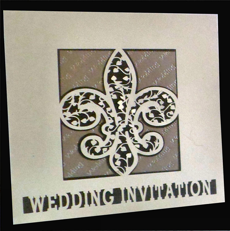Fleur De Lis Filigree Wedding Invitation card front