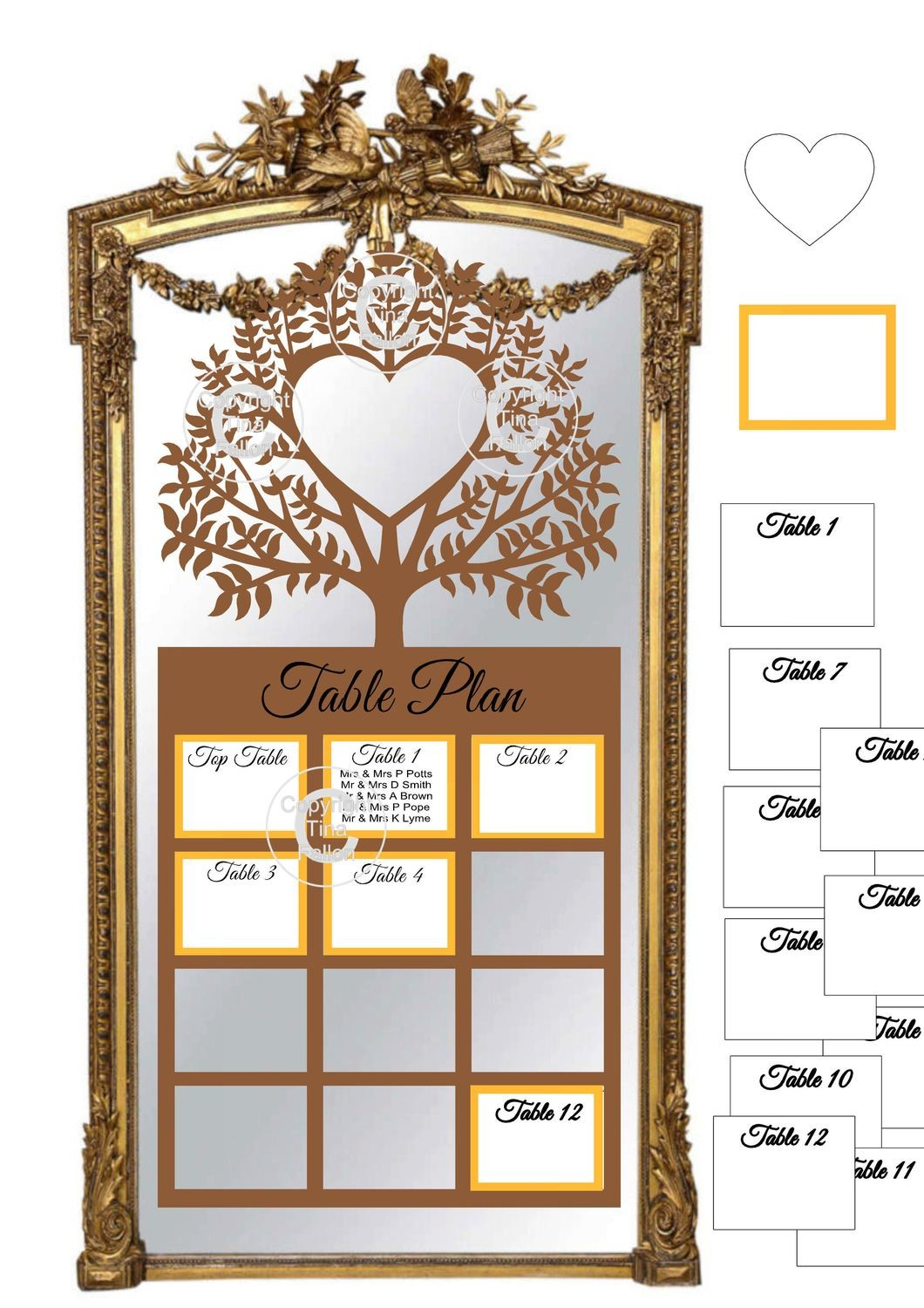 Ex Large Wedding Table Planner for 12 tables - studio fornat