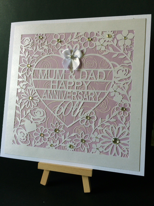 60th Diamond Wedding Anniversary Card Topper  to Mum & Dad