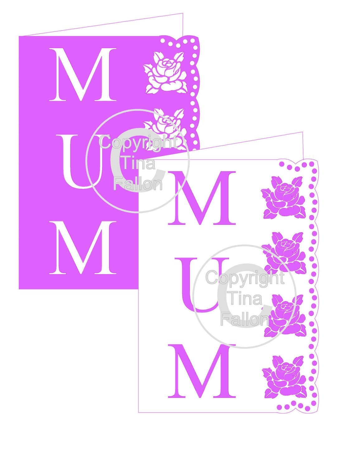 Mum with Rose side border Card Template