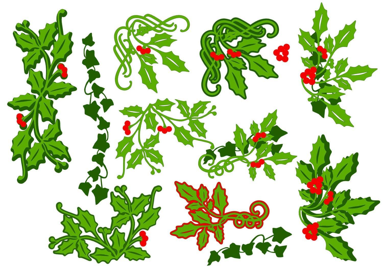 Christmas Holly and Ivy selection - layered border, corners