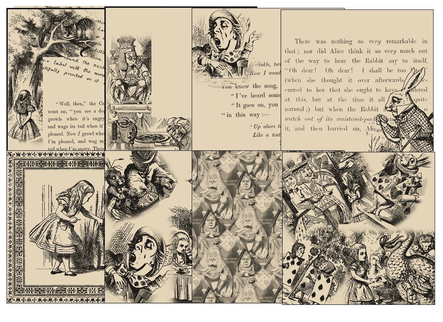 Alice in Wonderland  - 23 Backing Papers  (Aged Effect) - hand cut JPEGS