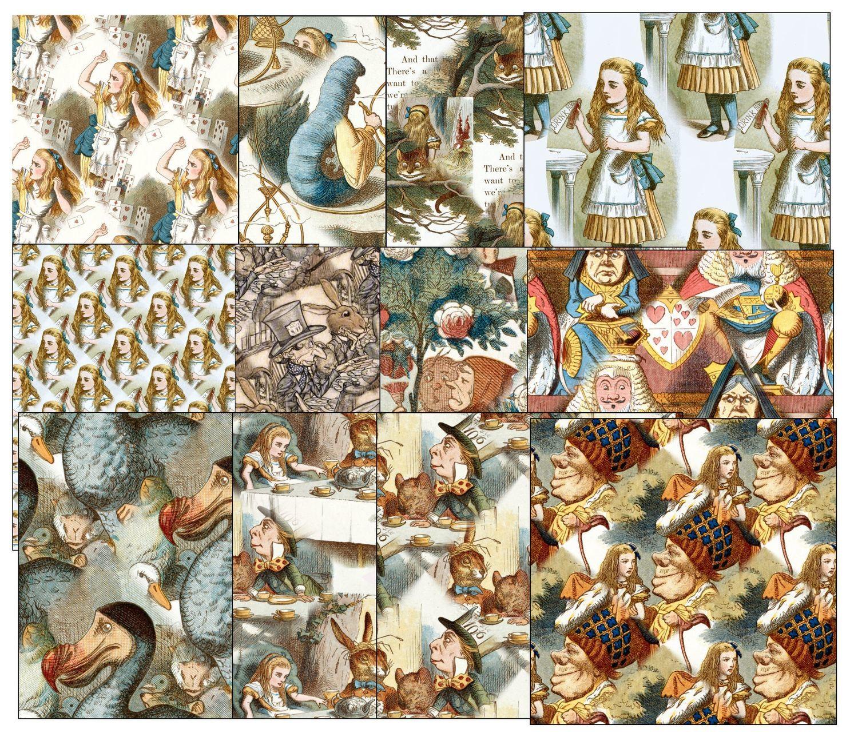 Alice in Wonderland  - 15 Backing Papers (full colour) - studio format print n cut