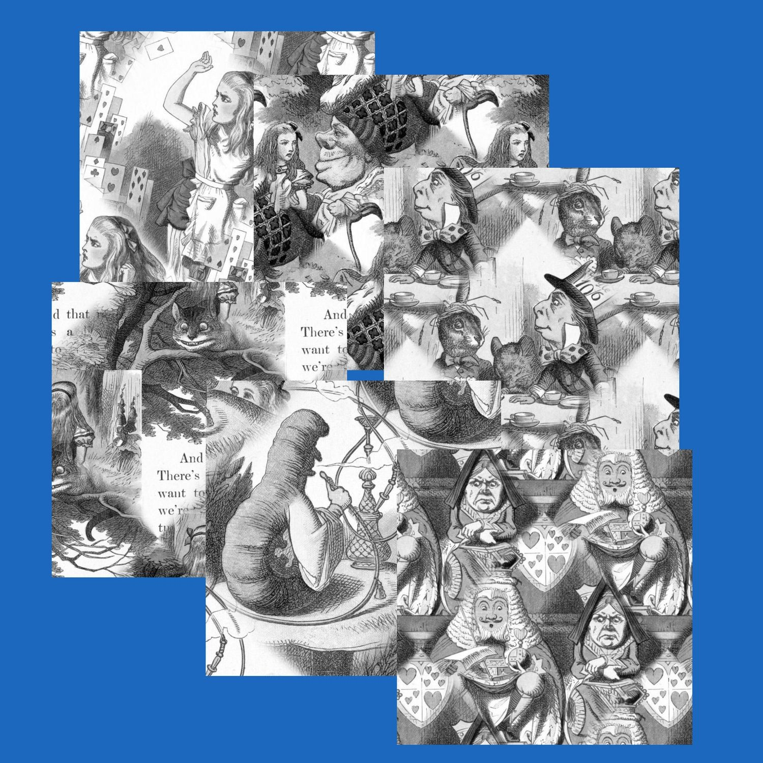 Alice in Wonderland  - 15 Backing Papers  (Greyscale) - hand cut JPEGS