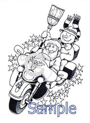 Christmas Bikers  Digi Image  non cutting file