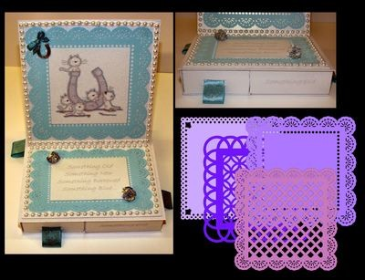 Square Easel Card with 4 Underdrawers choice No 2 with 4 Doilies