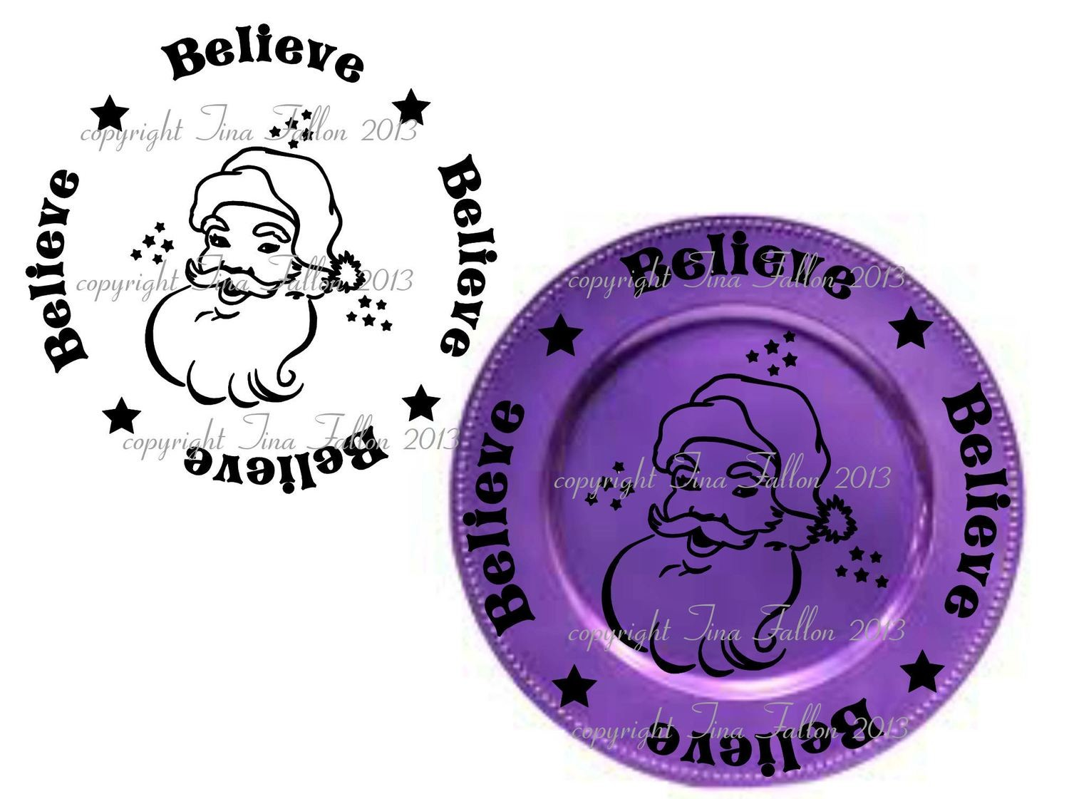 Believe Vinyl design for Christmas charger plates