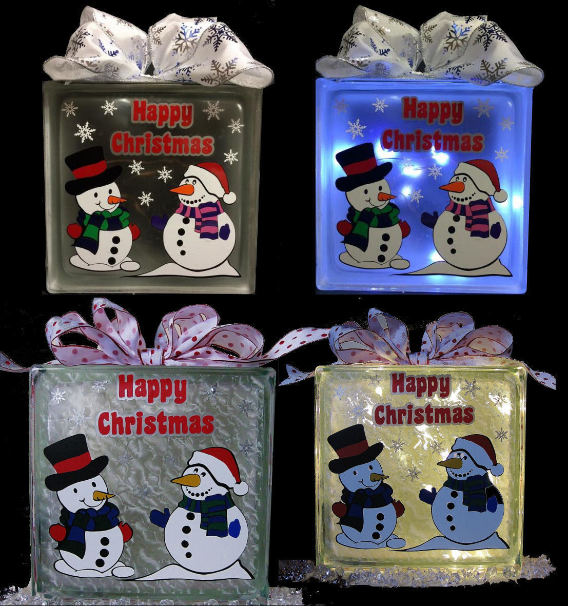 Snowmen , Snowwoman -  layered vinyl file for glass blocks Christmas