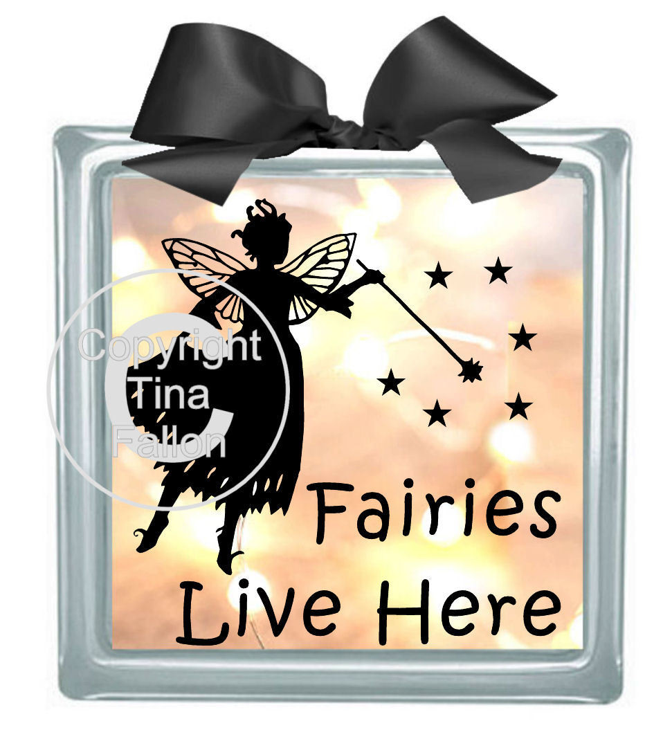 Fairies Live here - design for vinyl and glass blocks