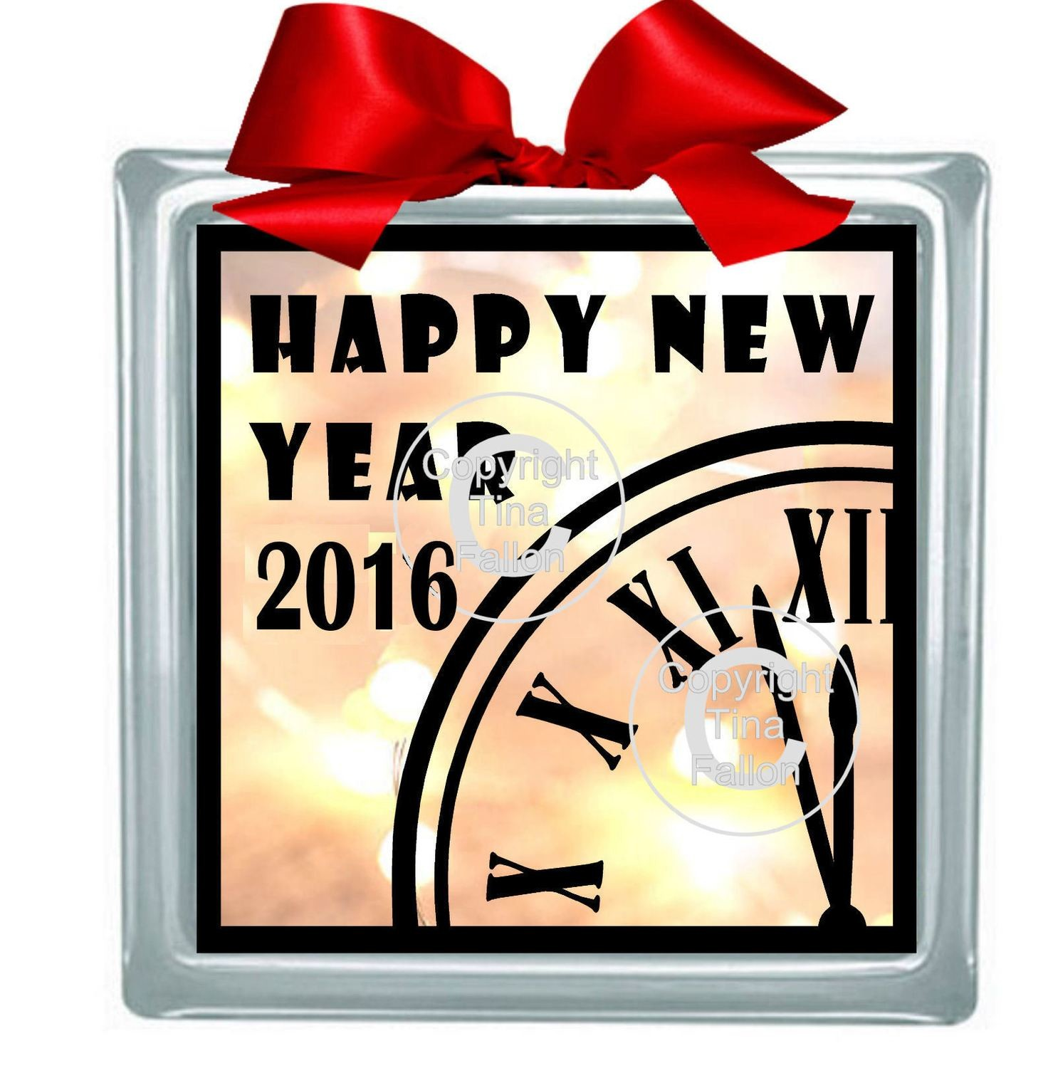 Happy New Year 2016 Glass Block Tile Design 6x6 inches