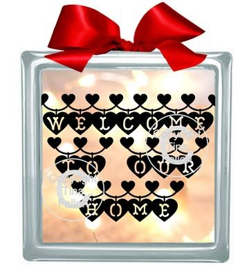 WELCOME TO OUR HOME Glass Block Tile Design 6x6 inches