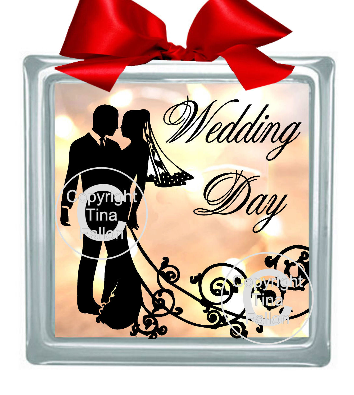 WEDDING COUPLE 1 Glass Block Tile Design 6x6 inches please read info