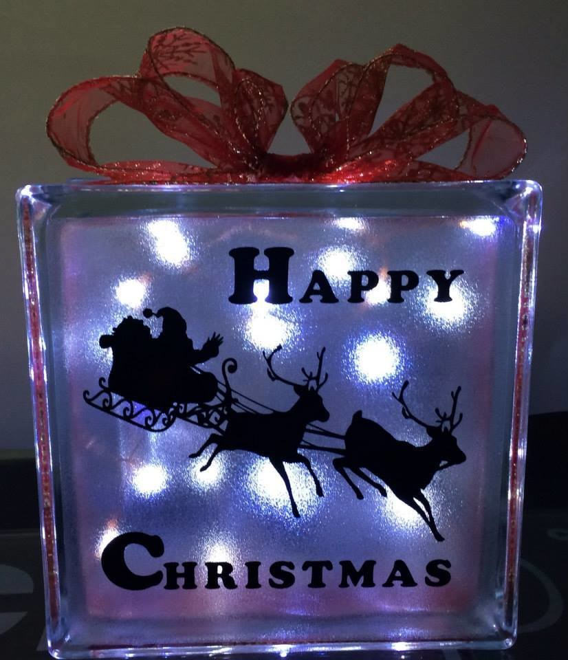 Santa's Sleigh Glass Block Tile Design 6x6 inches  PLEASE READ INFO
