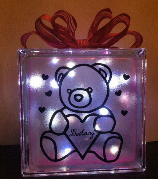 Bear (can be personalised in the heart)  Glass Block Tile Design 6x6 inches