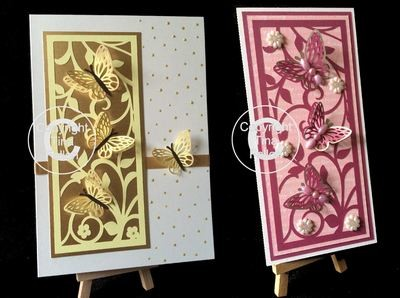 Floral and Butterfly Slim Panel  Card Topper