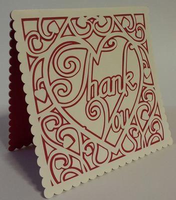 Heart Swirls  THANK YOU card template
