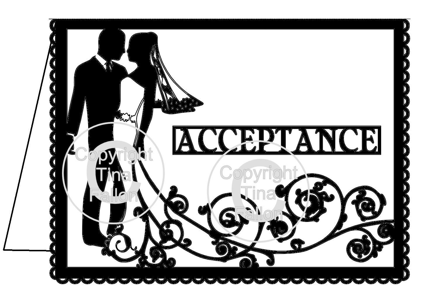 Wedding Acceptance Card Groom and  Bride Swirl please read info