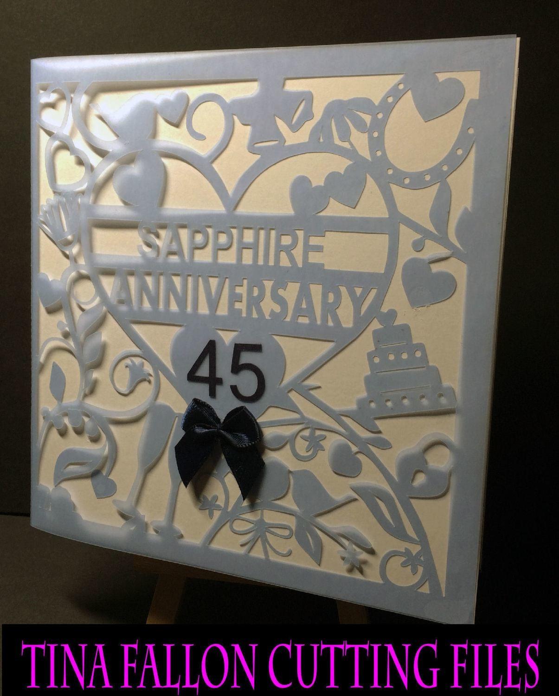 45th Sapphire Wedding Anniversary Card.