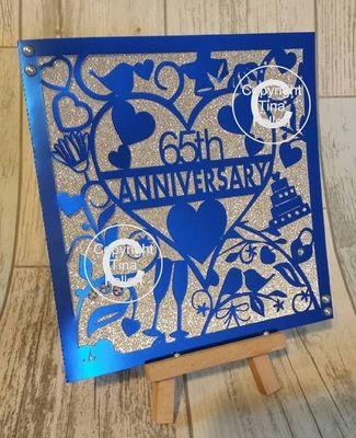65th  Blue Sapphire Wedding Anniversary Card.