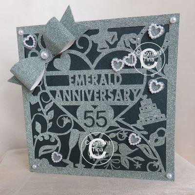 55th Emerald Wedding Anniversary Card (b)