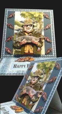 Fishing Fisherman Easel Card No 2  Print N Cut