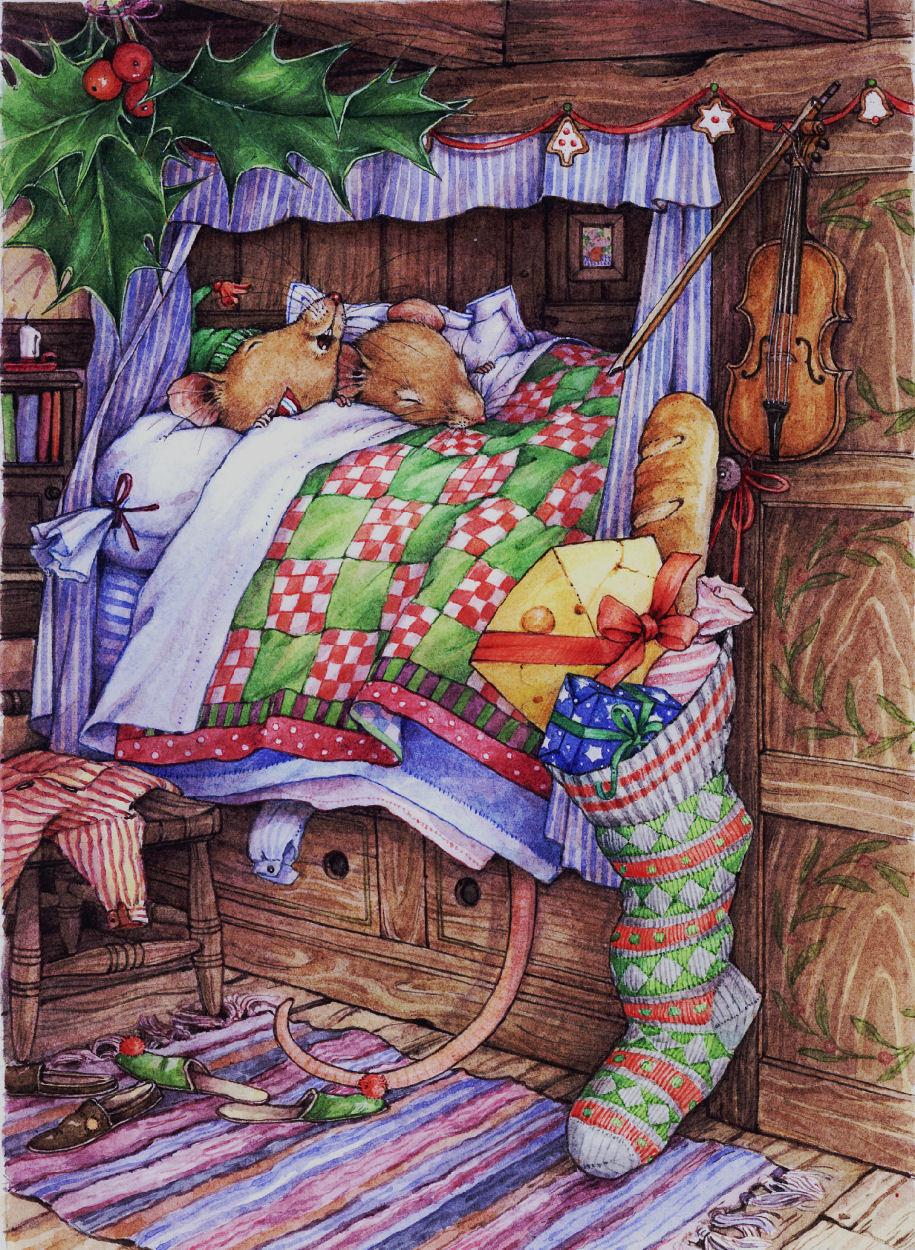 Waiting for Santa Christmas Mice Decoupage Print N cut for Cameo