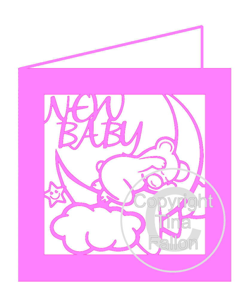 New Baby Card Baby Bear on Moon PLEASE READ INFO