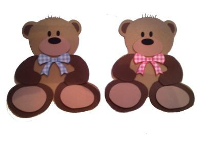 Teddy Bear Card Shaped Template and layered piecings
