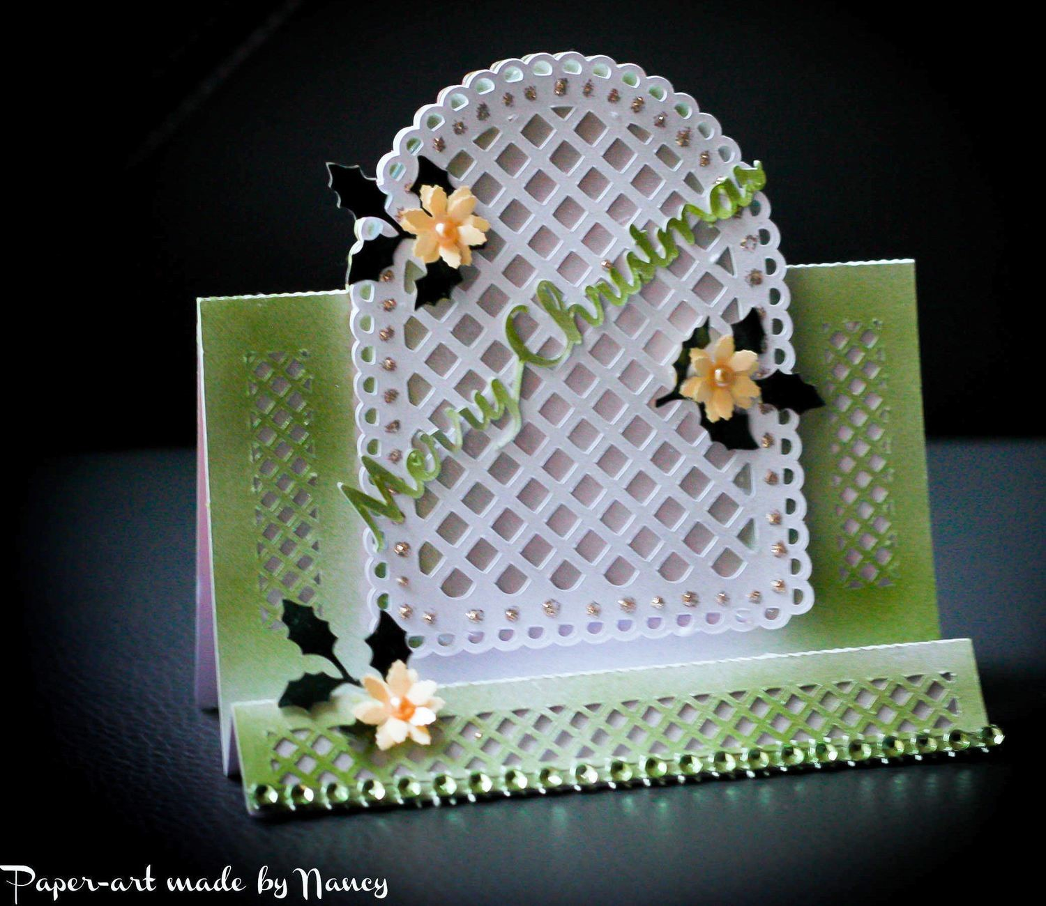 Stepper Card - Arch window with trellis cutwork and layering - studio format