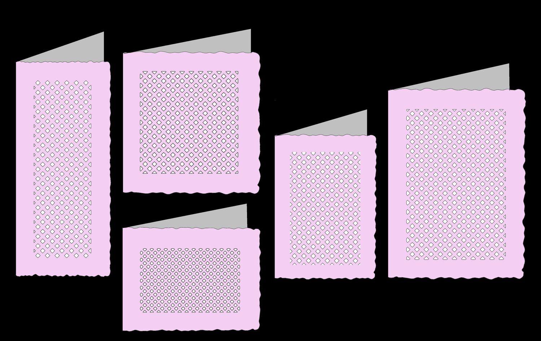 Deckle Edge Cards Set 3 with lattice panel Set of 5