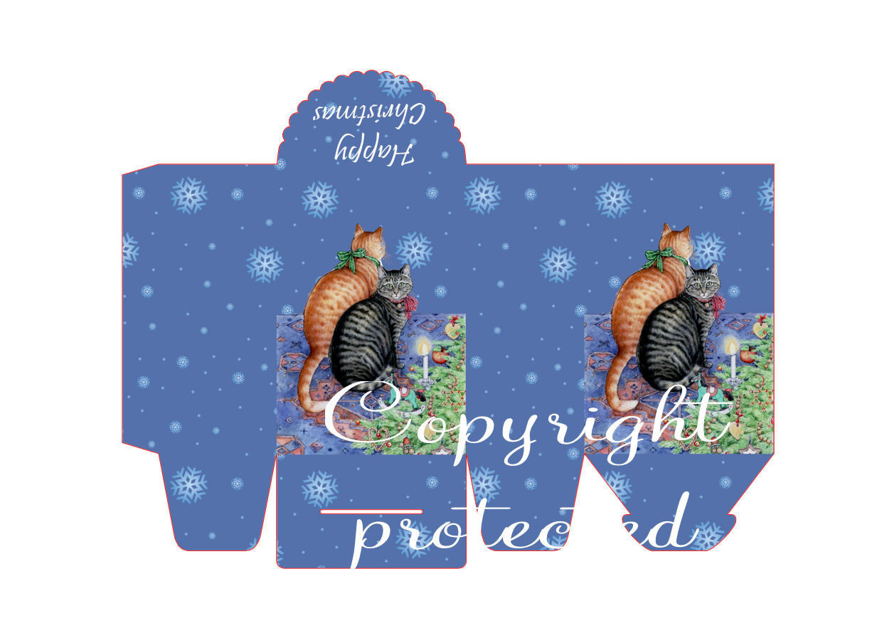 Cats in Waiting Christmas Treat Box  Print N cut for Cameo