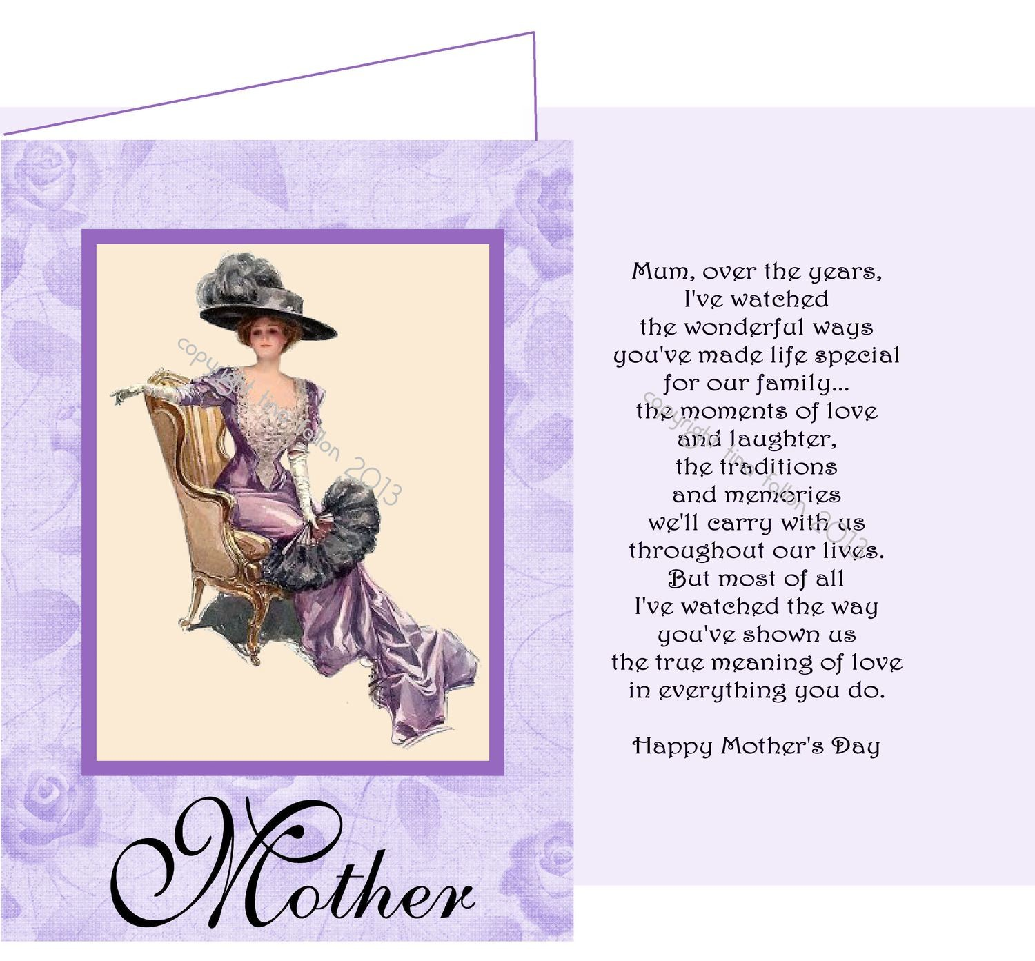 Mothers card no 8 Print n Cut includes card and insert