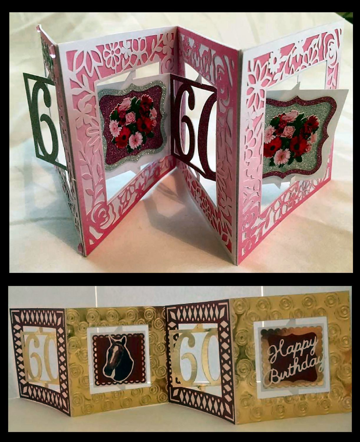 Accordian Card -60 th  birthday - Anniversary .