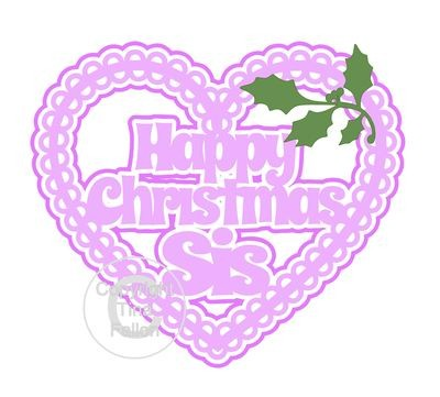 Christmas Heart Sis Card Topper / Hanging Ornament