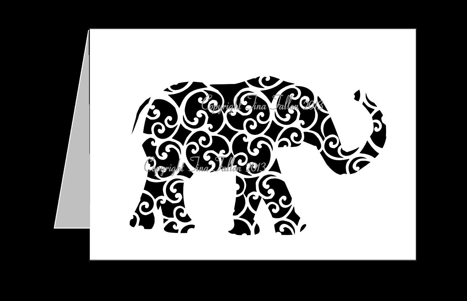 Elephant Trunk Up  Filigree Card Template