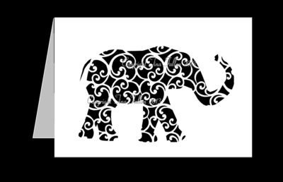 Elephant Trunk Up  Filigree Card Template
