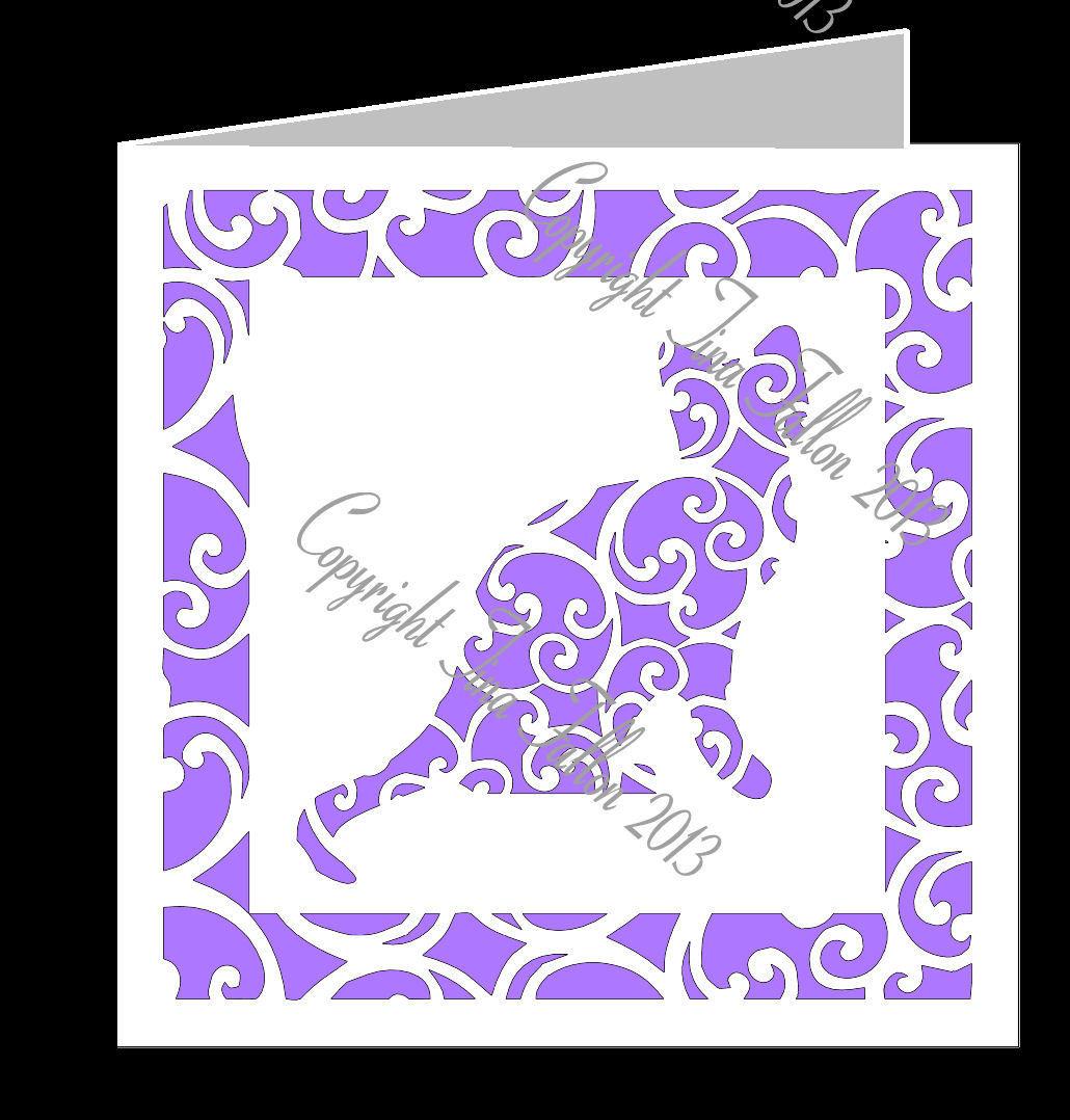 Cat Filigree Card Template