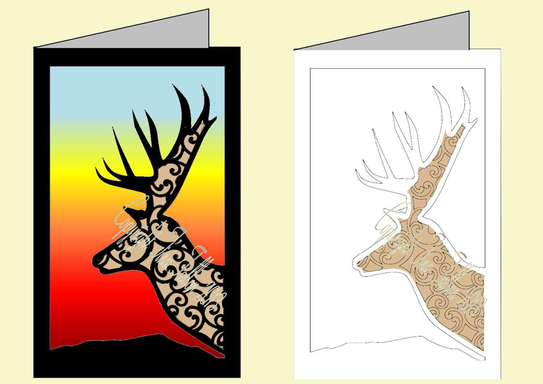 Deer Filigree Card Template