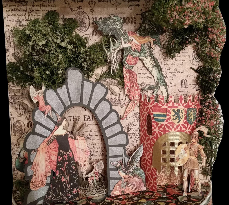 Castle, tree, portcullis, door, flint stone arch for 3d scenes in boxes - pdf handcut